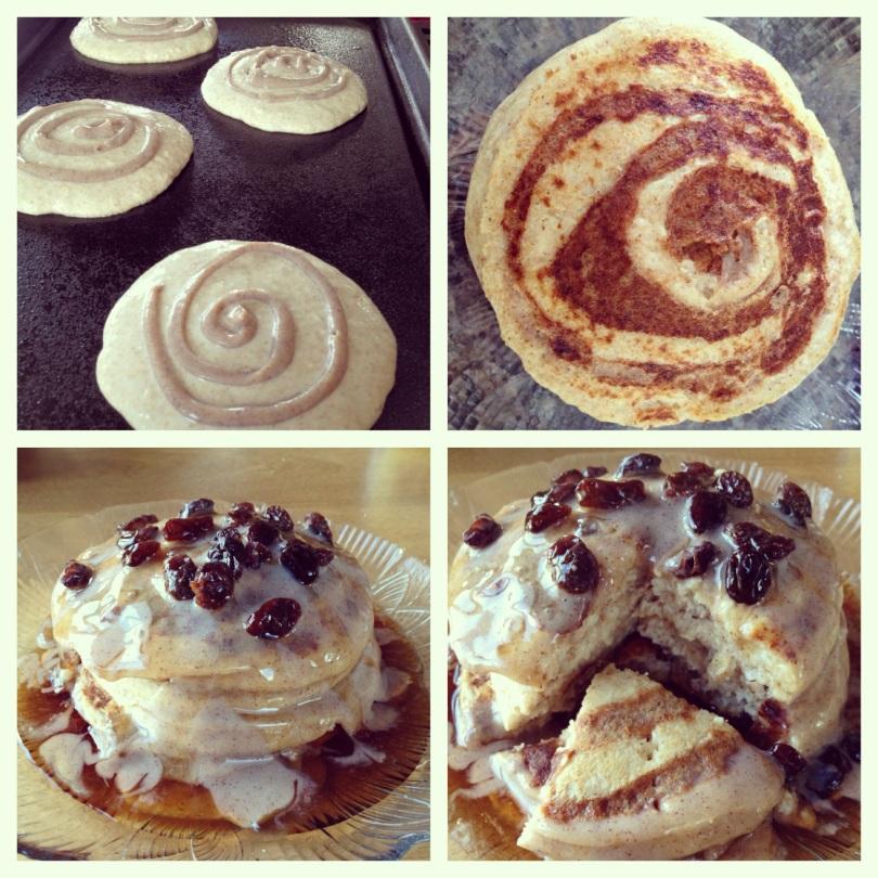 cinnamon raisin swirl pancakes.