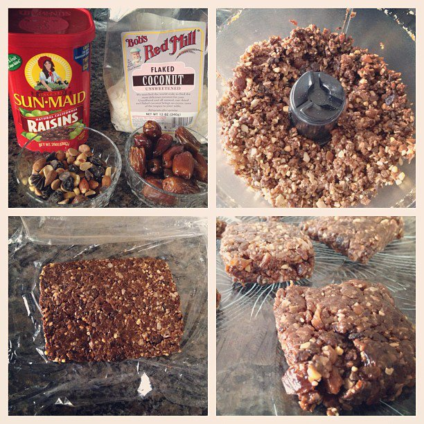 homemade chocolate, coconut, trail mix energy bars.
