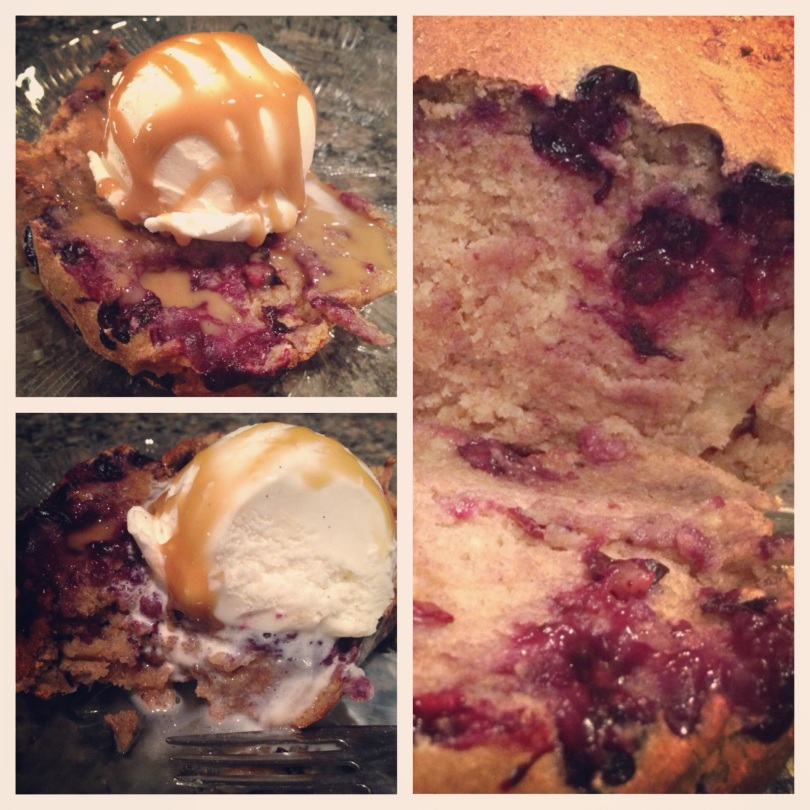 banana blueberry bread topped with vanilla frozen yogurt and sugar free caramel sauce.