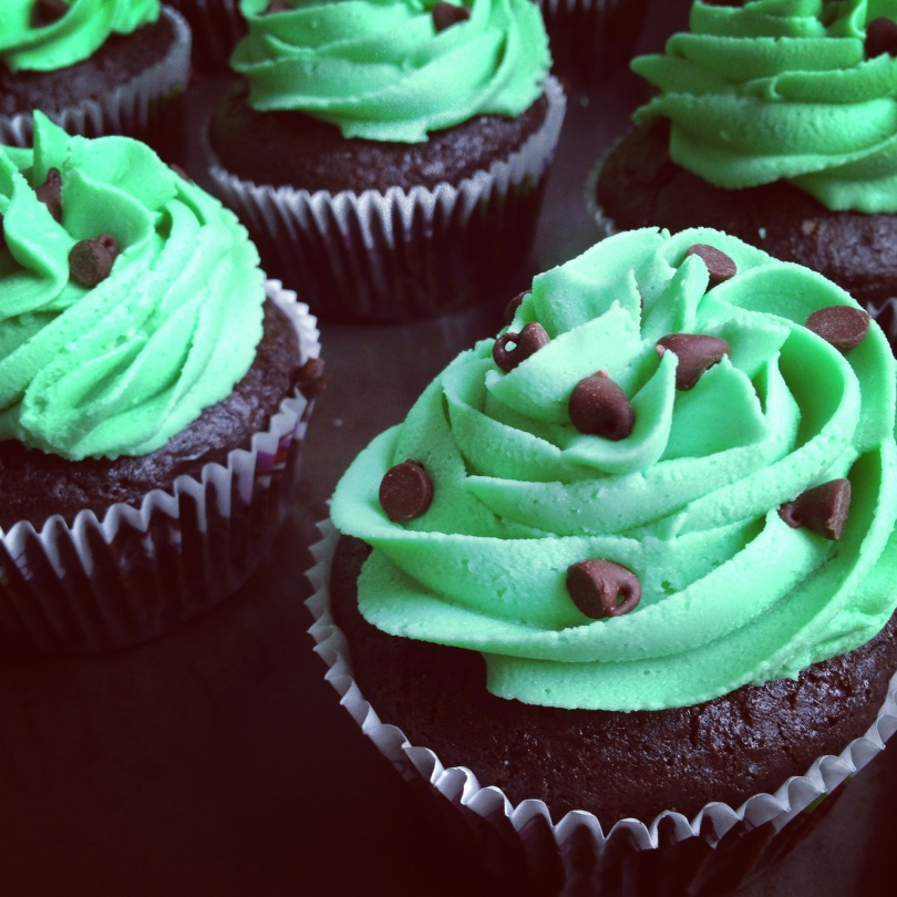 gluten free mint chocolate chip cupcakes.