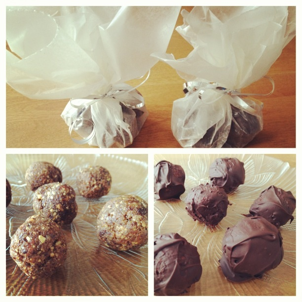 homemade chocolate covered peanut butter, chocolate, almond energy balls.