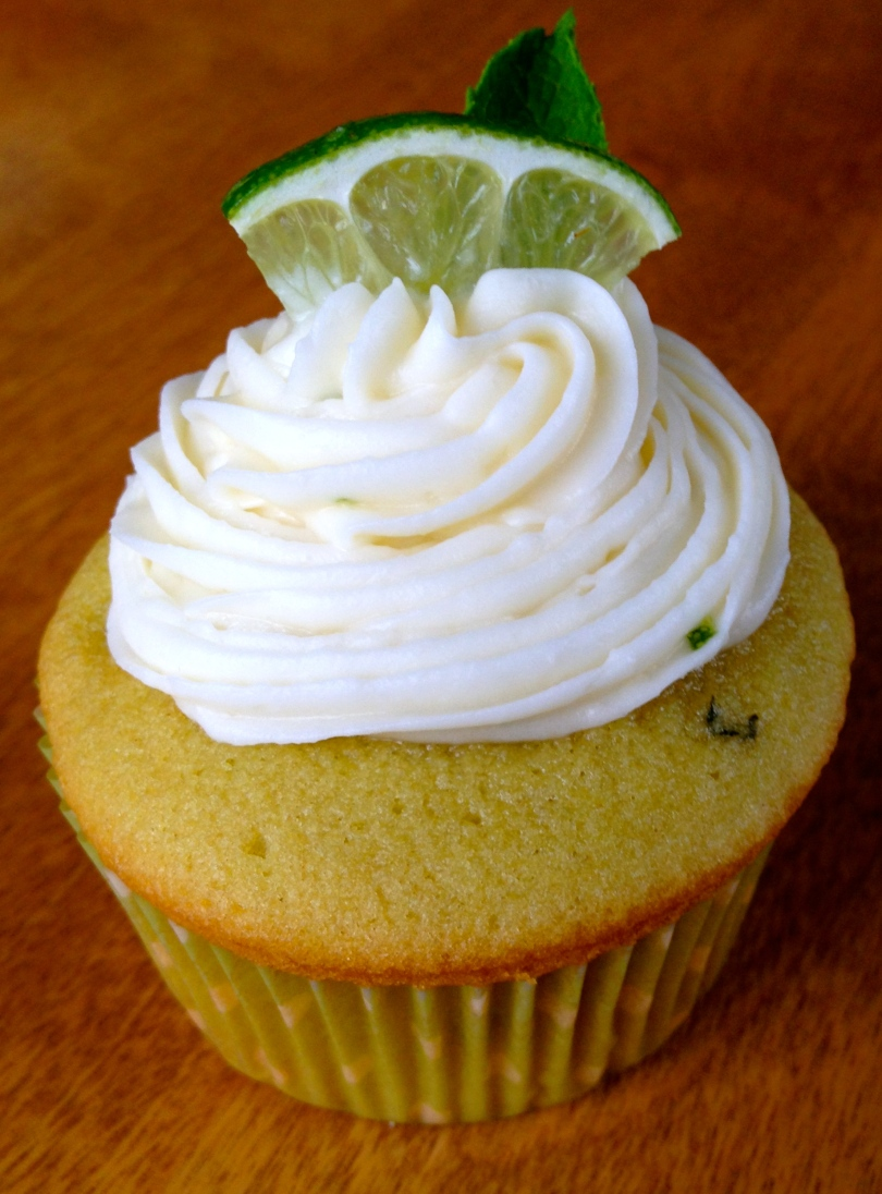 mint and lime mojito cupcake with lime cream cheese frosting.