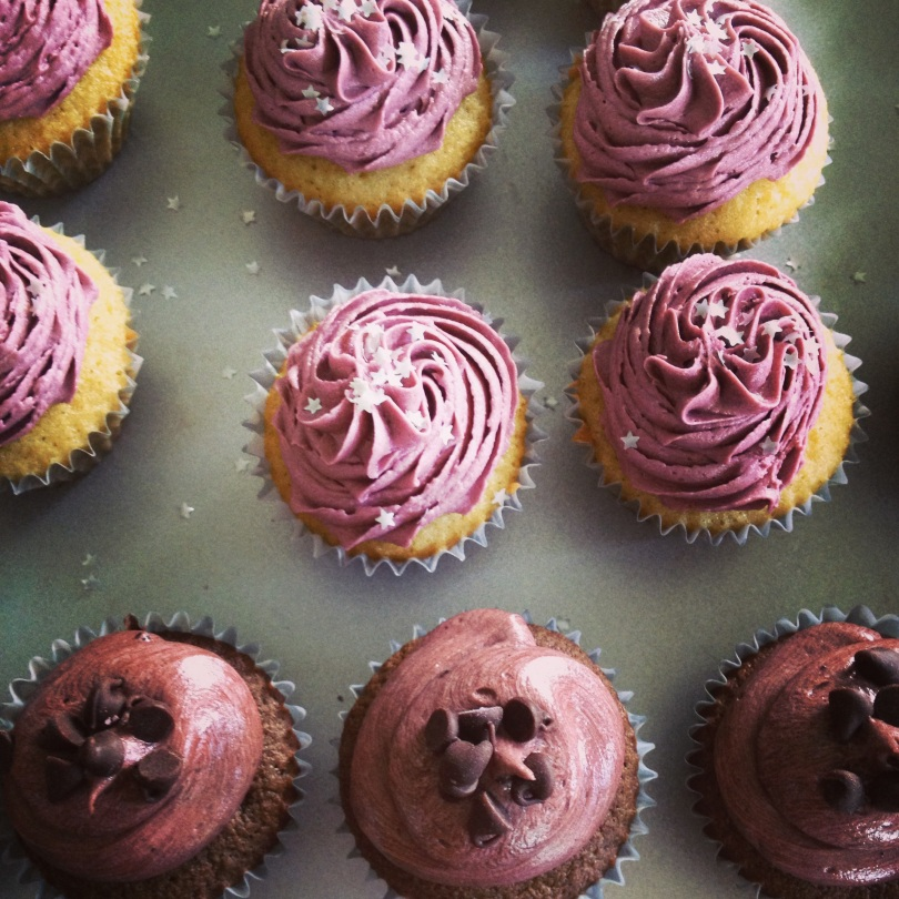 classic chocolate and vanilla cupcakes with chocolate and vanilla buttercream.