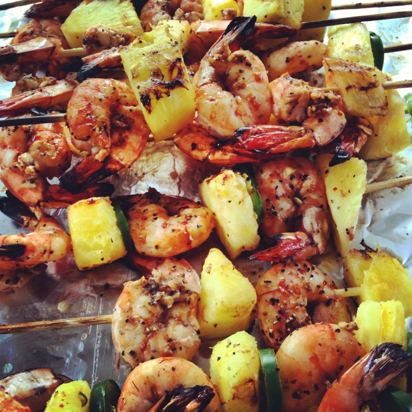 spicy bbq shrimp skewers with pineapple and jalepeno.