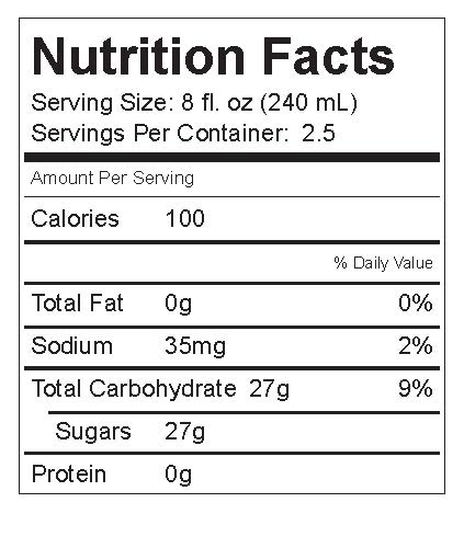 soda nutrition fact